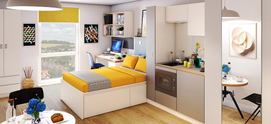 Bed, kitchen area and dining table