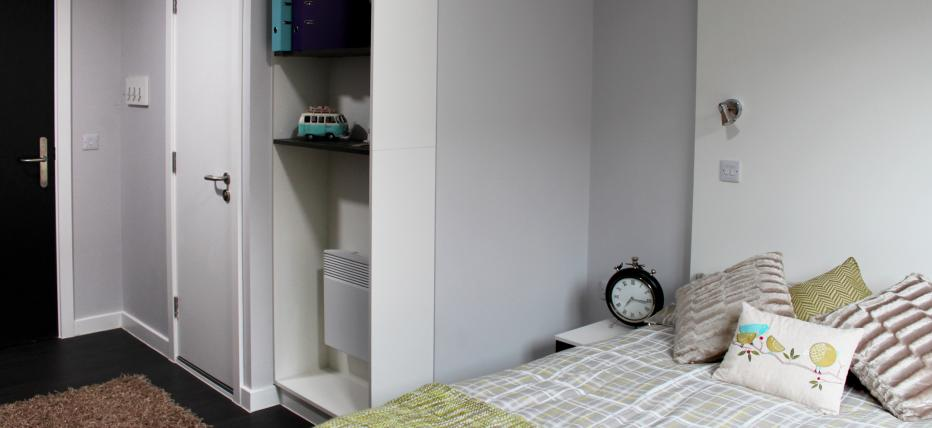 Bed and shelves