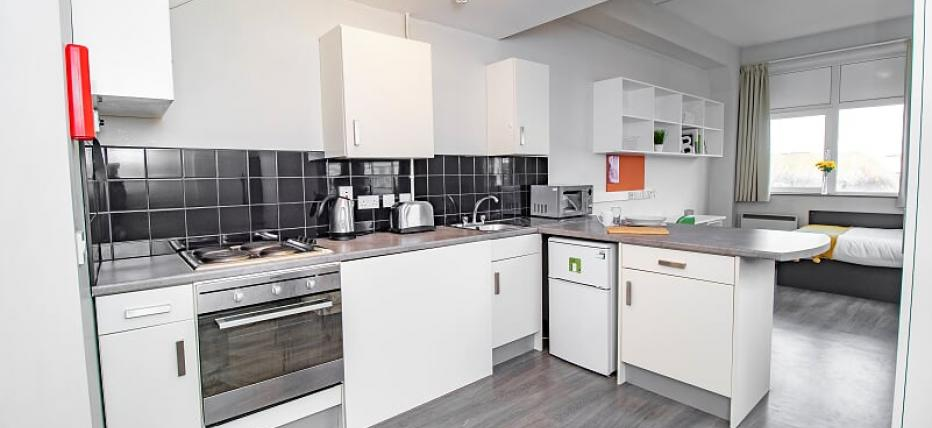 Premium Studio - Kitchen area with cupboards and oven. Bed in the background