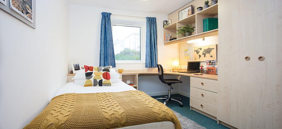 Bedroom, double bed, desk, chair, window, cupboard, shelves, noticeboard