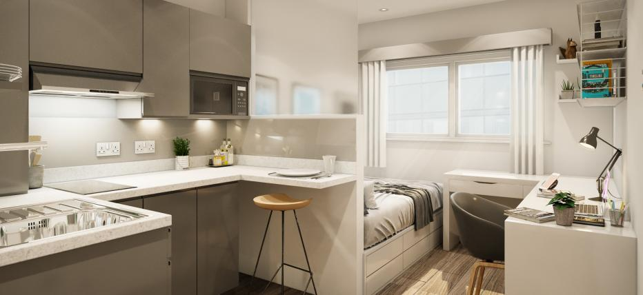 Standard Studio - Kitchen area with cupboards, breakfast bar with stool. Bed and desk with chair