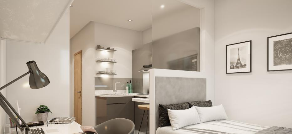 CGI Images Bed, desk with chair. Kitchen area in background