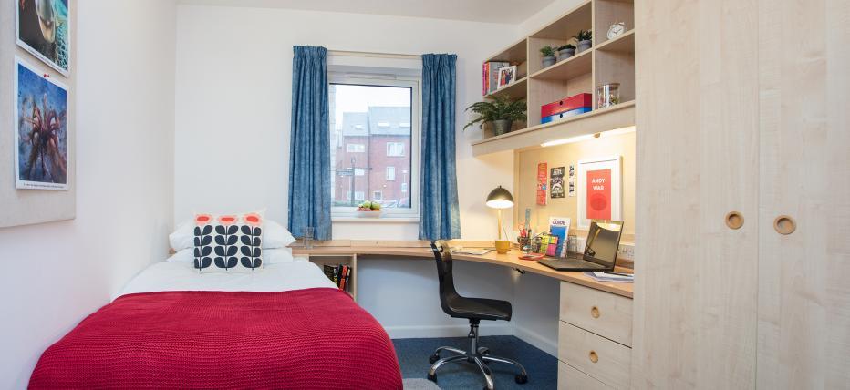 Bedroom, window, desk, chair, shelves, single bed, wardrobe, noticeboard