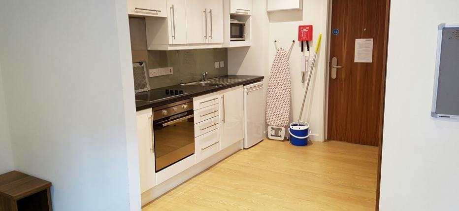 Classic Studio - Kitchen area with over, cupboards and work surface