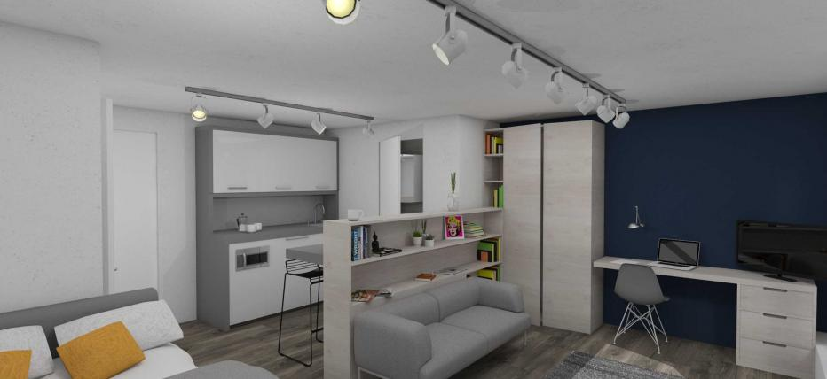 Bed, Kitchen area, Living area with sofa and chair