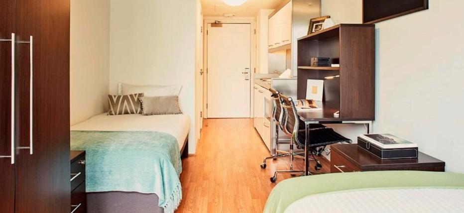 Beds, wardrobe, desk and chair