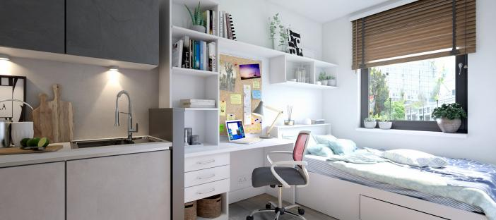Bed, desk area and kitchen area