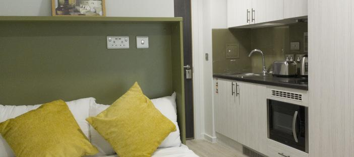Bed and kitchen area