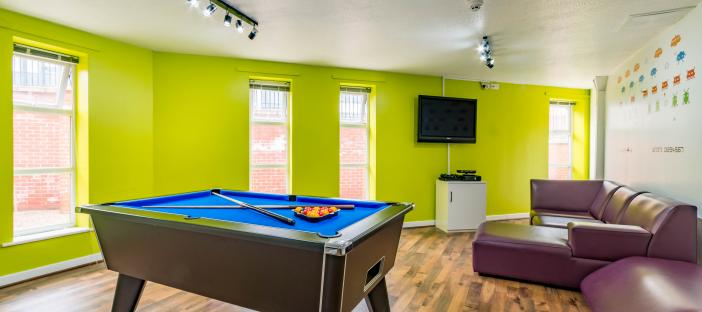 Common room with pool table
