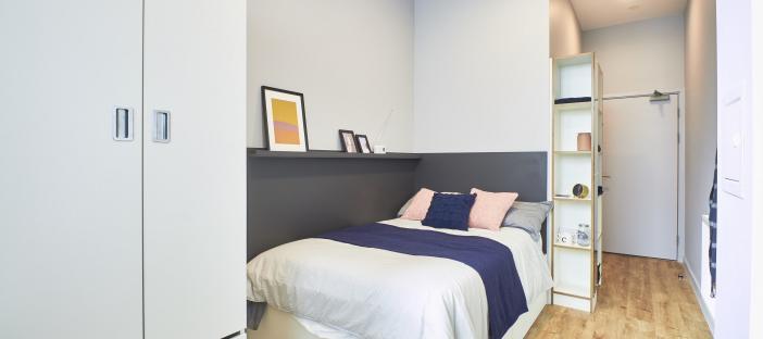 Bed, shelves