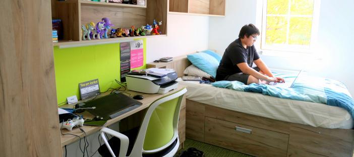 Bedroom, bed, shelves, chair, desk and window
