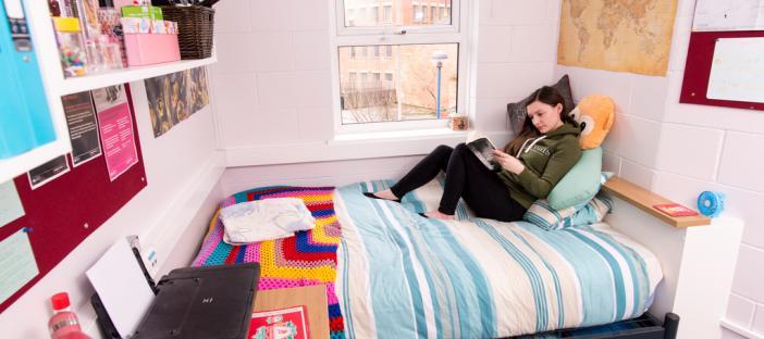 Bed, shelves, desk, chair, window, noticeboards