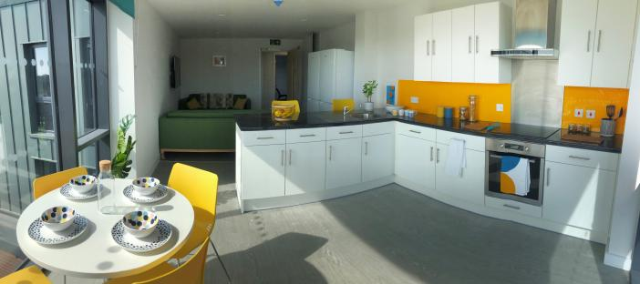 Shared kitchen area with dining table and sofas