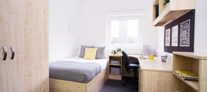 Bedroom, bed, window, shelves, wardrobe, bookcase, chair