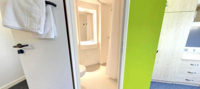 En suite bathroom, toilet, mirror, sink, shower