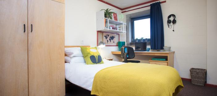 Bedroom, bed, window, wardrobe, desk, chair, noticeboard