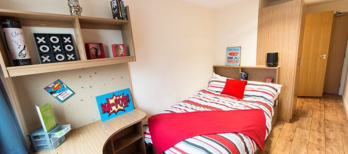 Bedroom, bed, shelves, wardrobe, chair