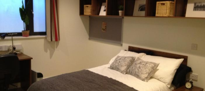 Bed with shelving above and desk with chair