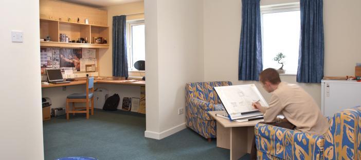 Bedroom, bed, coffee table, 2 sofas, window, separate room, desk, chair, window, shelves, noticeboard