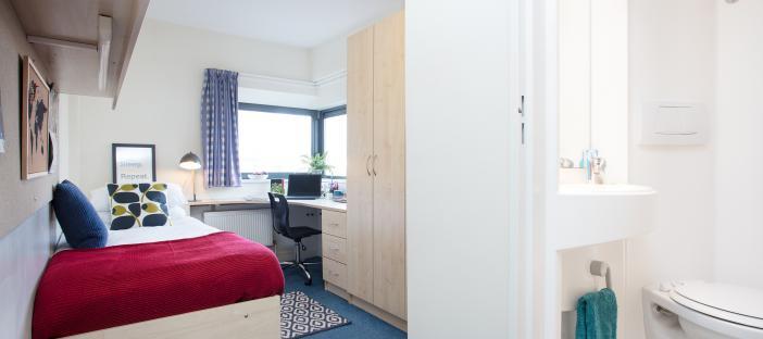 Bed, shelves, noticeboard, cupboards, window, desk, chair, separate toilet, mirror, sink, towel rail