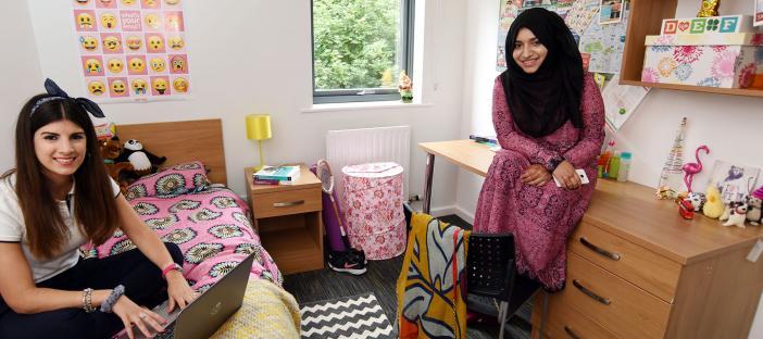Bedroom, bed, window, desk, shelves, chair