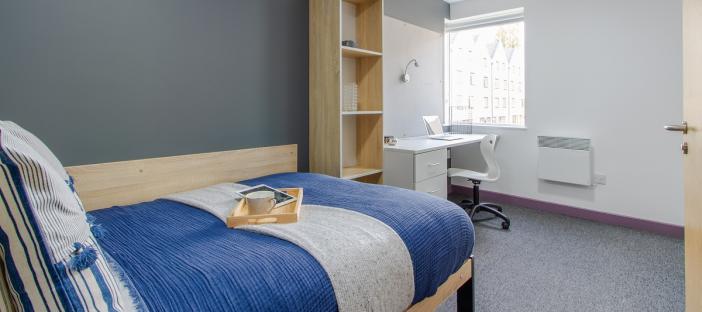 Standard En-Suite - Bed, desk with chair