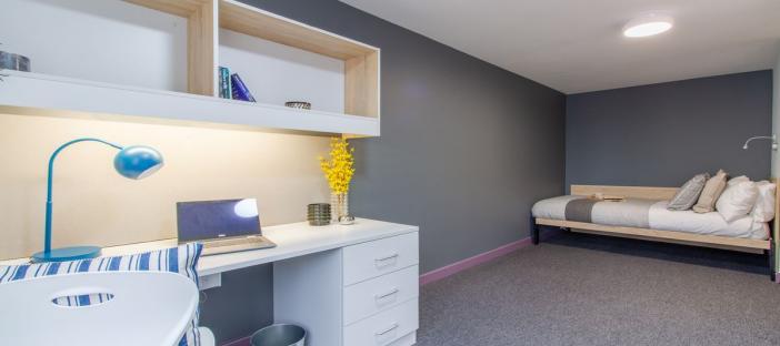 Premium En-Suite - Bed, desk area and chair