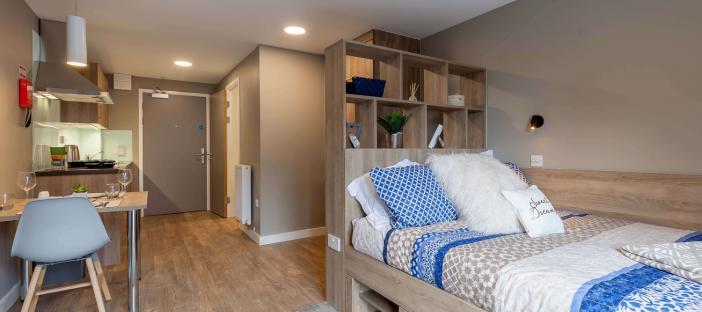 Room, studio, bed, shelves, wooden dining table, one chair, kitchen, extractor hood and door
