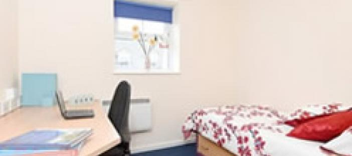 Bedroom with bed, desk, chair and bedside table