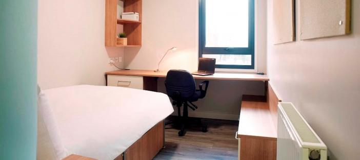 Bed, desk and chair