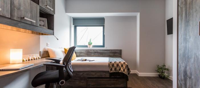 Silver studio bed and desk